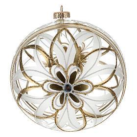 Christmas Bauble flower white/gold 15cm s3