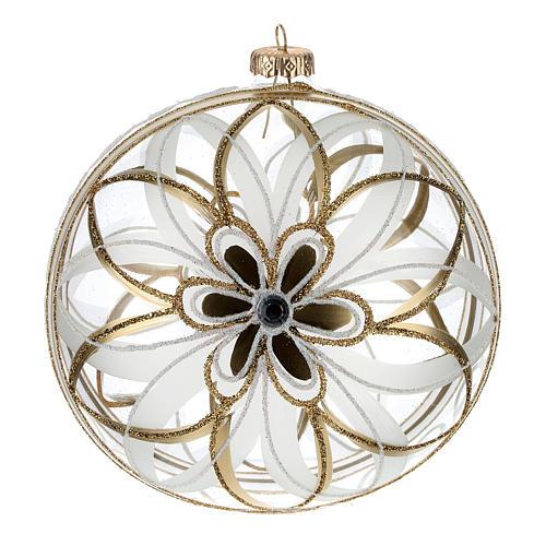 Christmas Bauble flower white/gold 15cm 1