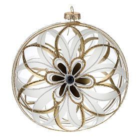 Bolas de Navidad: Bola de Navidad vidrio soplado flor blanco/oro 150 mm