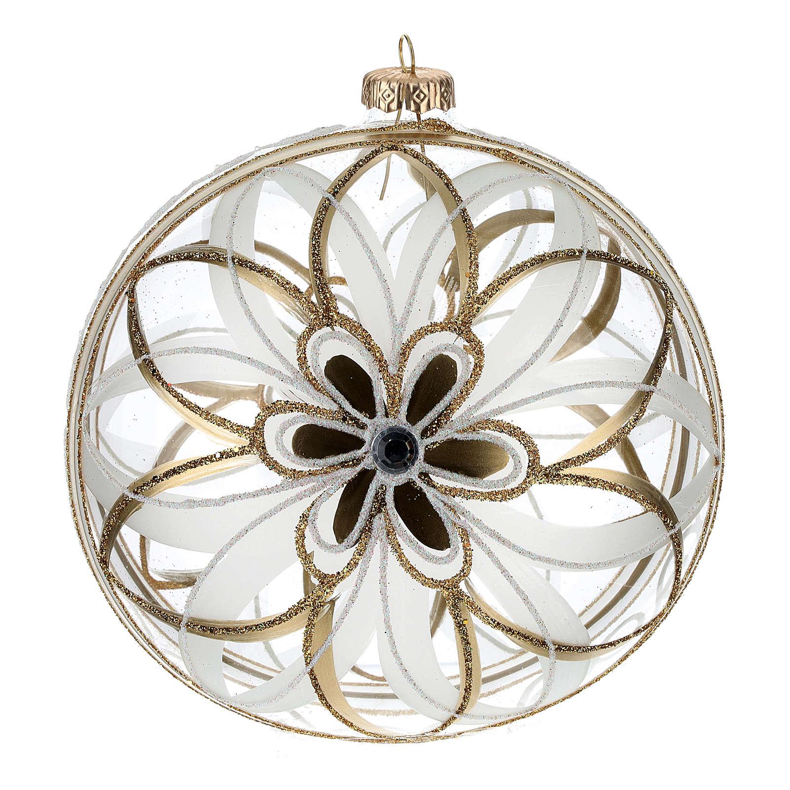 Palla Natale vetro soffiato fiore bianco/oro 150mm 4