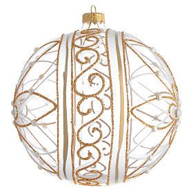 Palla Natale vetro soffiato fiore bianco/oro 150mm s2