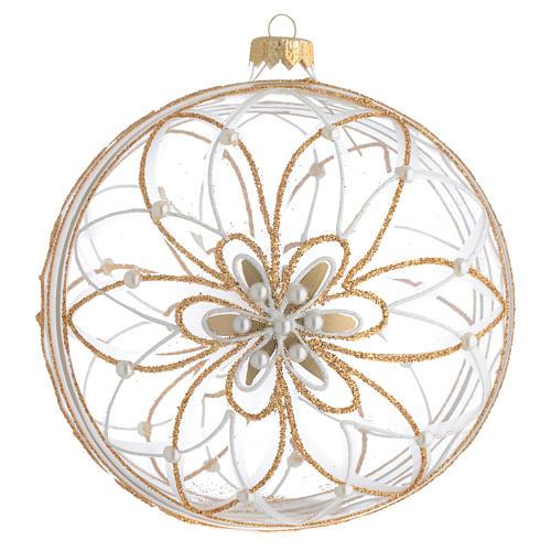 Palla Natale vetro soffiato fiore bianco/oro 150mm 1