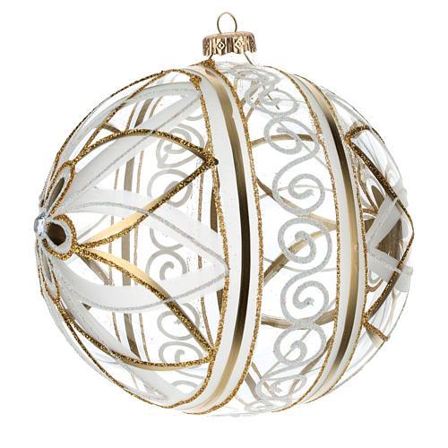 Palla Natale vetro soffiato fiore bianco/oro 150mm 2