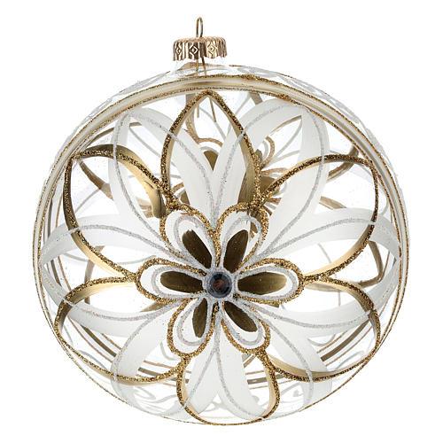 Palla Natale vetro soffiato fiore bianco/oro 150mm 3