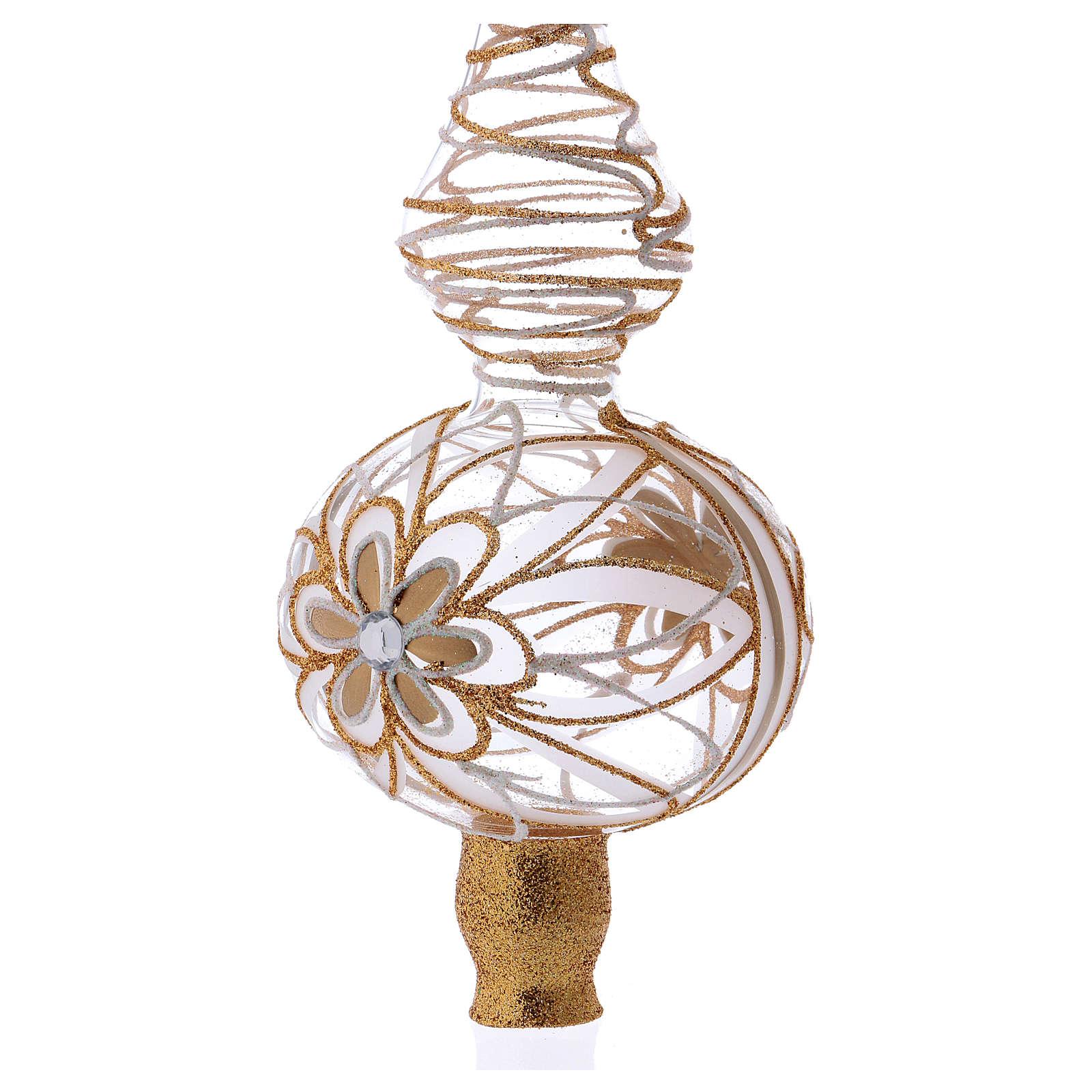 Puntale albero Natale vetro soffiato bianco/oro 4