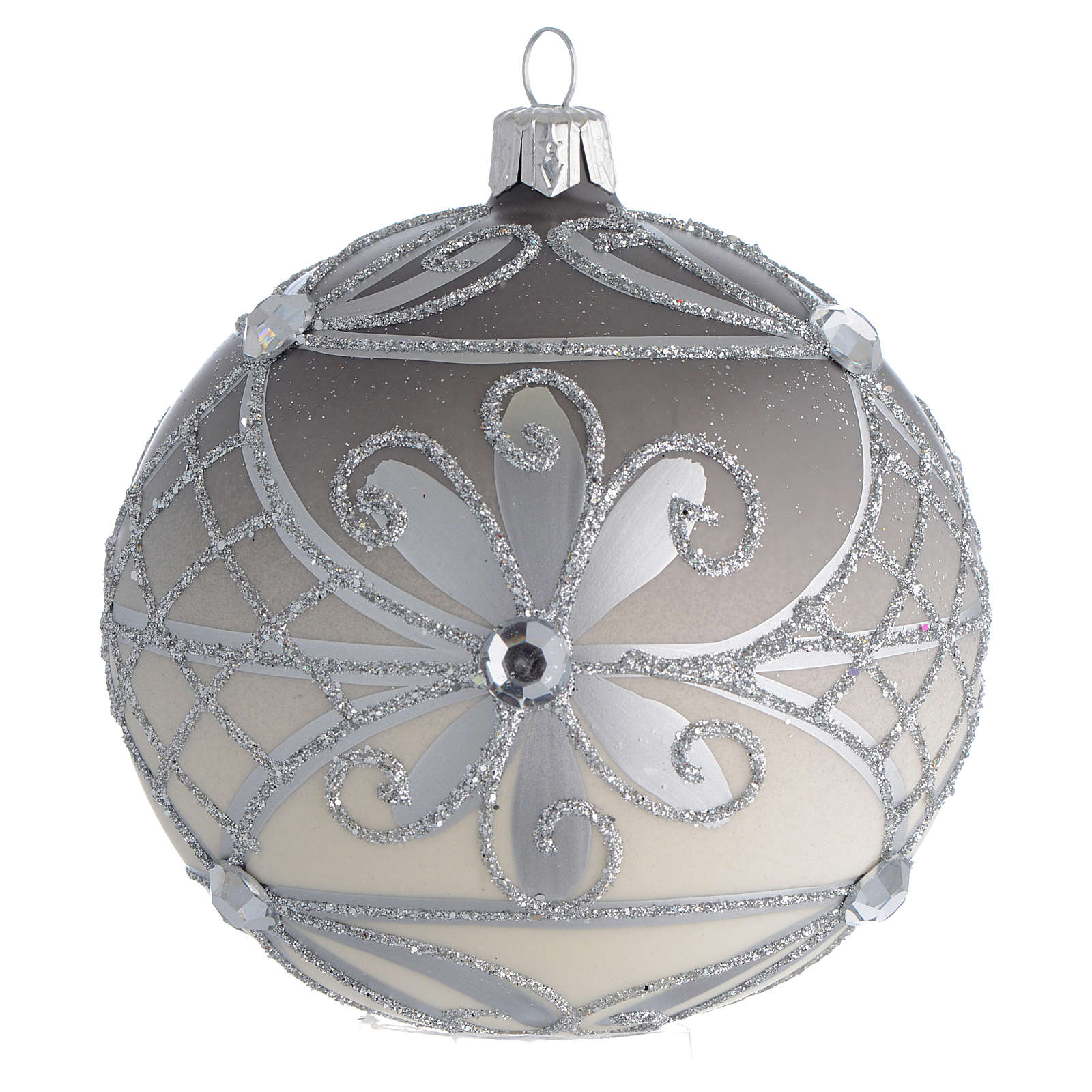 Bola de Navidad vidrio soplado plata 100 mm 4
