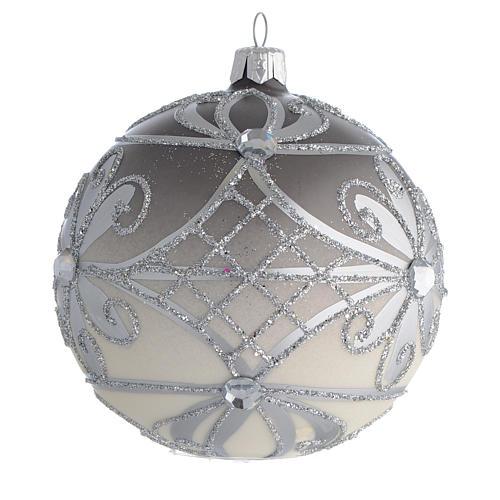 Bola de Navidad vidrio soplado plata 100 mm 2