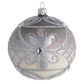 Boules de Noël: Boule Noël verre soufflé mat argent 100 mm