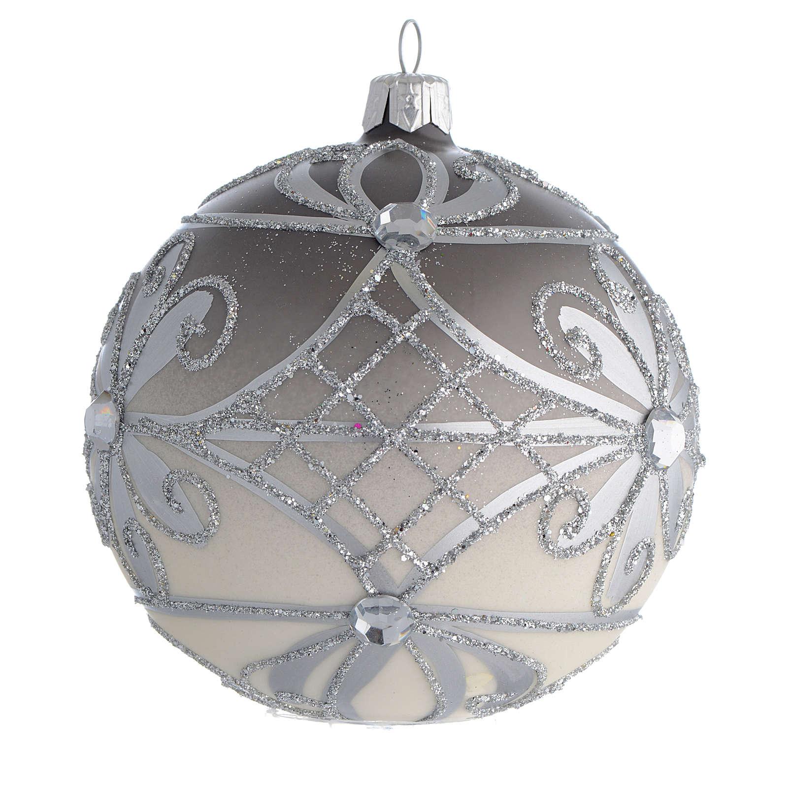 Christmas Bauble matte silver 10cm 4