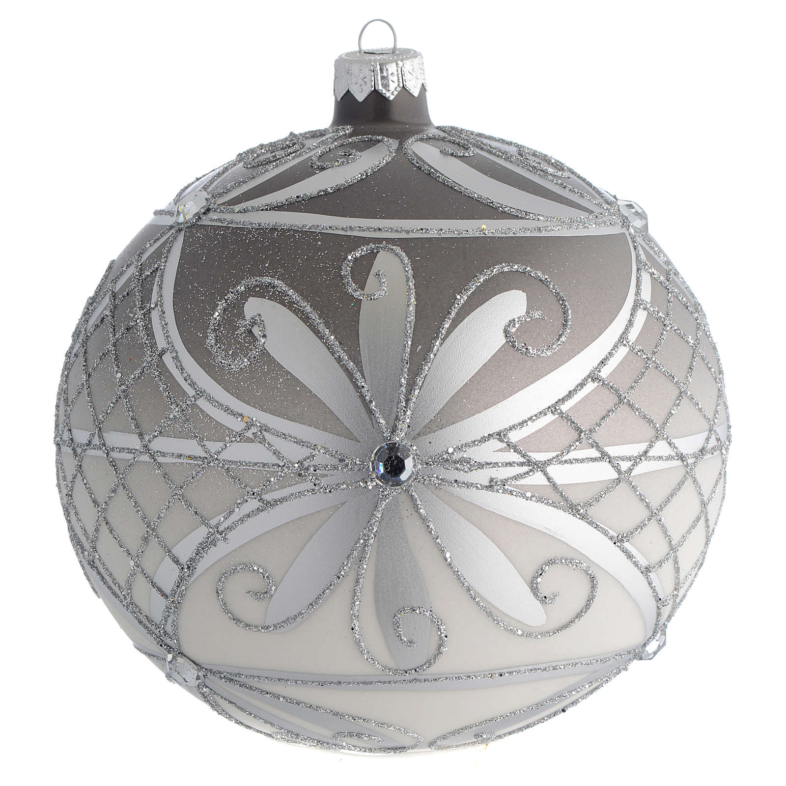 Boule Noël verre soufflé mat argent 150 mm 4