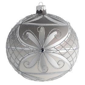 Boule Noël verre soufflé mat argent 150 mm s1