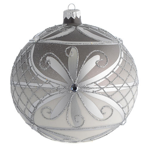 Boule Noël verre soufflé mat argent 150 mm 1