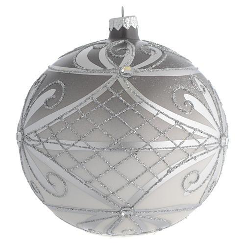 Boule Noël verre soufflé mat argent 150 mm 2