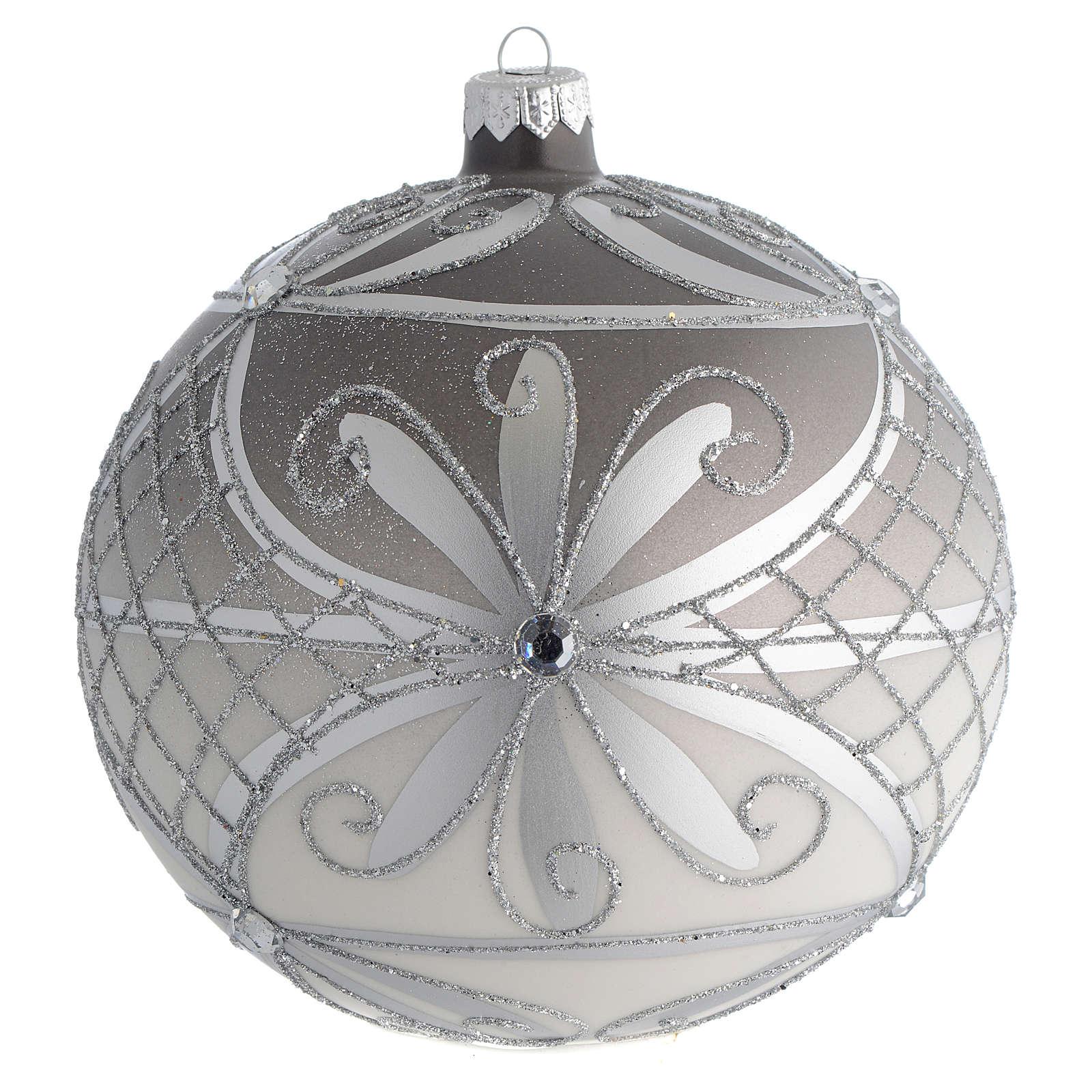 Palla Natale vetro soffiato opaco argento 150 mm 4