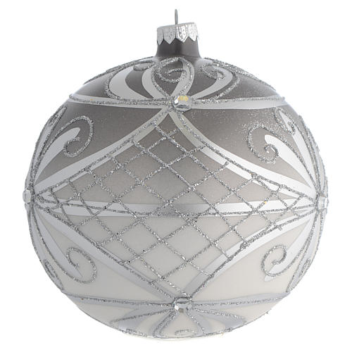 Palla Natale vetro soffiato opaco argento 150 mm 2