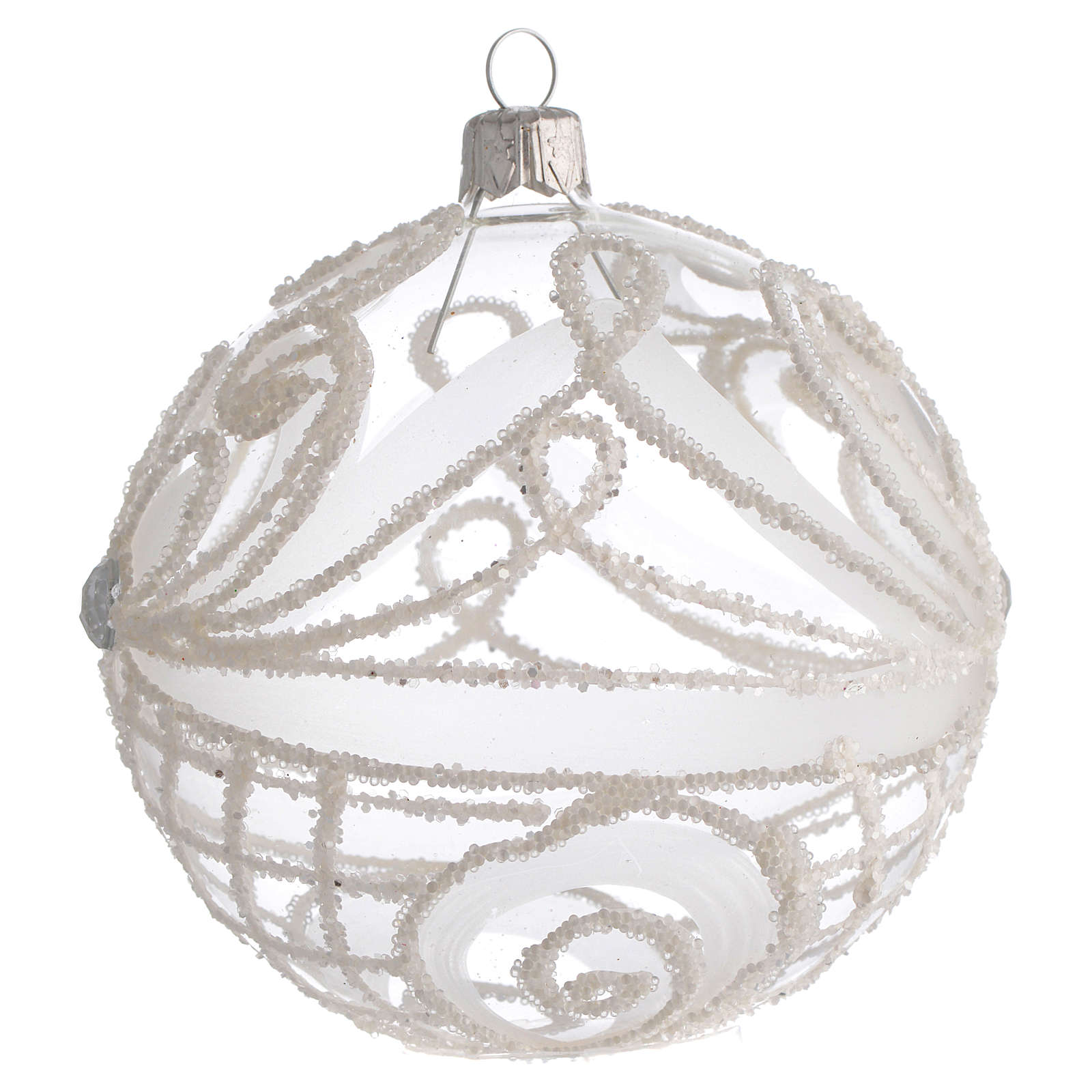 Christmas Bauble transparent and white 10cm 4