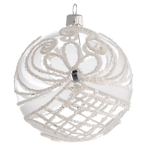 Christmas Bauble transparent and white 10cm 1