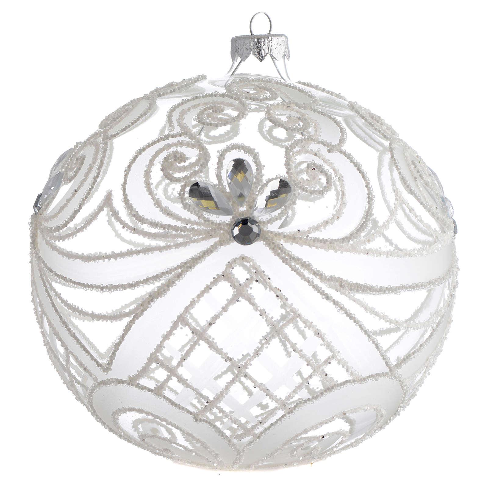 Boule Noël verre soufflé transparent et blanc 150 mm 4