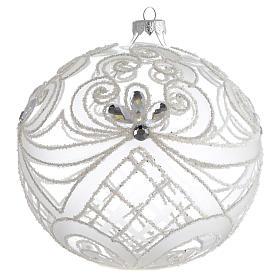 Boule Noël verre soufflé transparent et blanc 150 mm s1