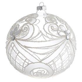 Boule Noël verre soufflé transparent et blanc 150 mm s2
