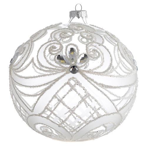 Boule Noël verre soufflé transparent et blanc 150 mm 1