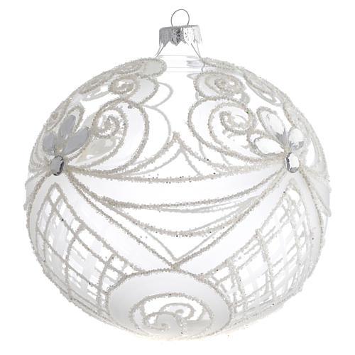 Boule Noël verre soufflé transparent et blanc 150 mm 2