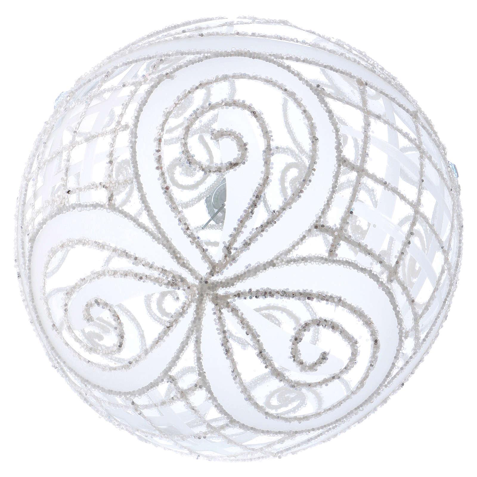Palla Natale vetro soffiato trasparente e bianco 150mm 4