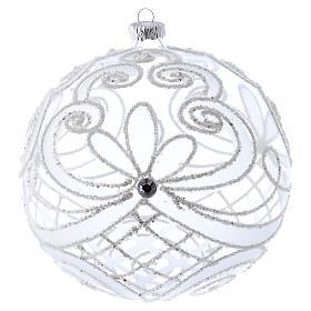Palla Natale vetro soffiato trasparente e bianco 150mm s1