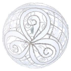 Palla Natale vetro soffiato trasparente e bianco 150mm s3