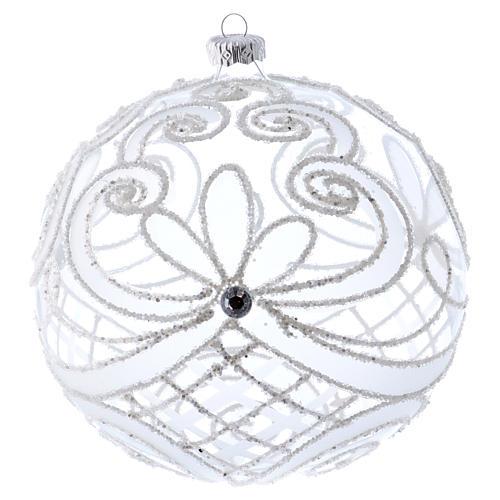 Palla Natale vetro soffiato trasparente e bianco 150mm 1