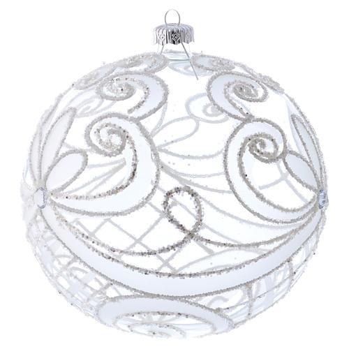 Palla Natale vetro soffiato trasparente e bianco 150mm 2