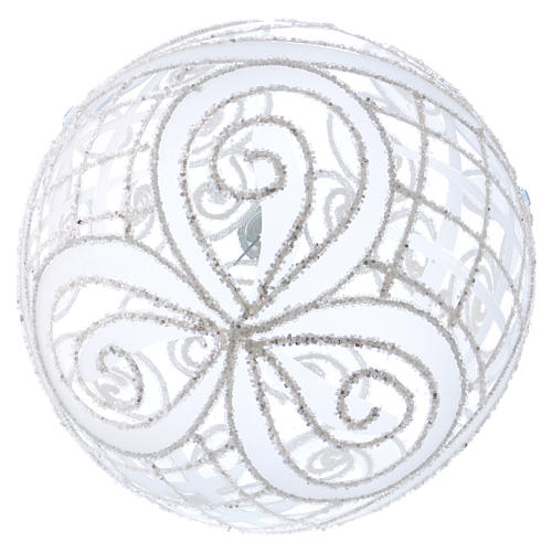 Palla Natale vetro soffiato trasparente e bianco 150mm 3