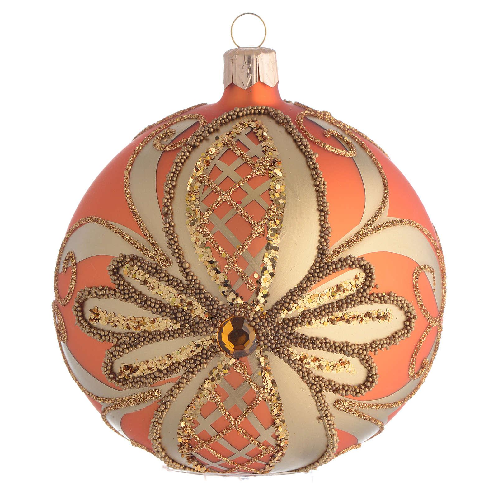Pallina Albero Natale vetro soffiato arancione 100mm 4