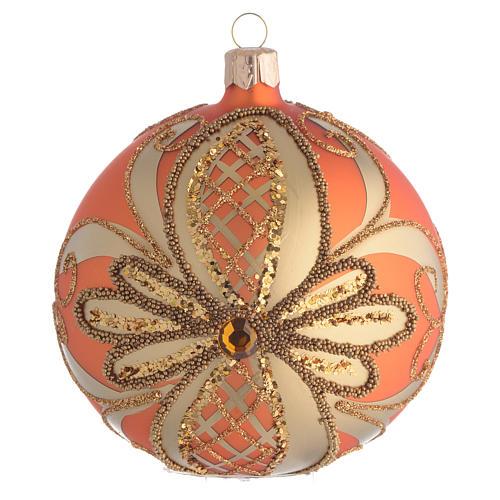 Pallina Albero Natale vetro soffiato arancione 100mm 1