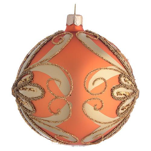 Pallina Albero Natale vetro soffiato arancione 100mm 2