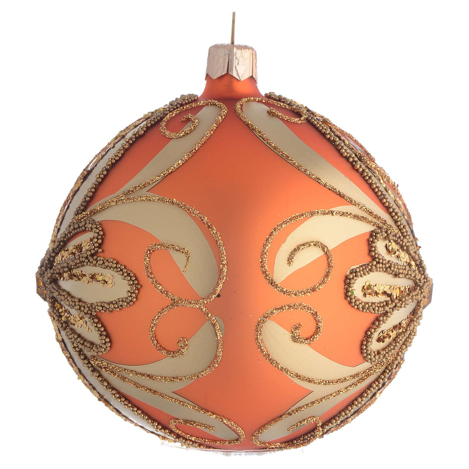 Bombka bożonarodzeniowa  szkło dmuchane pomaranczowa 100mm 4