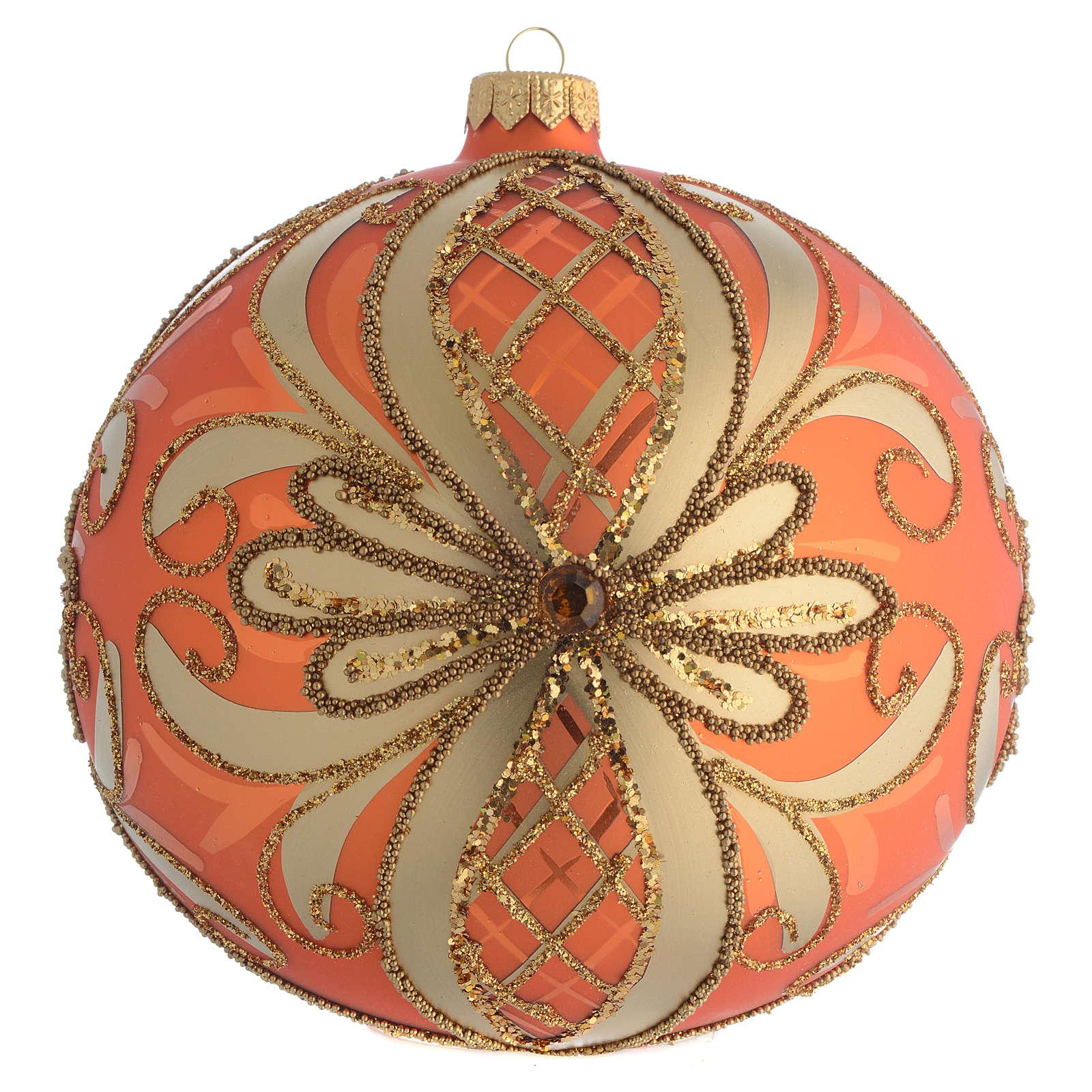 Palla Albero Natale vetro soffiato arancione 150mm 4