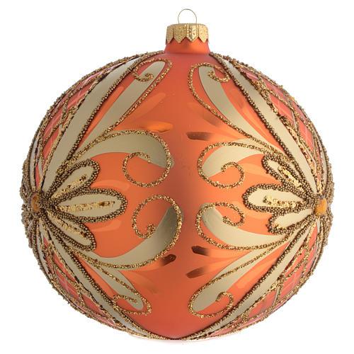 Palla Albero Natale vetro soffiato arancione 150mm 2