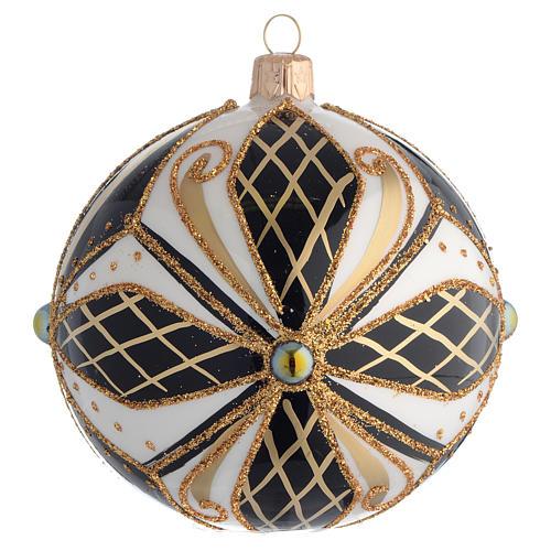 Pallina Albero Natale vetro nero bianco oro 100mm 1