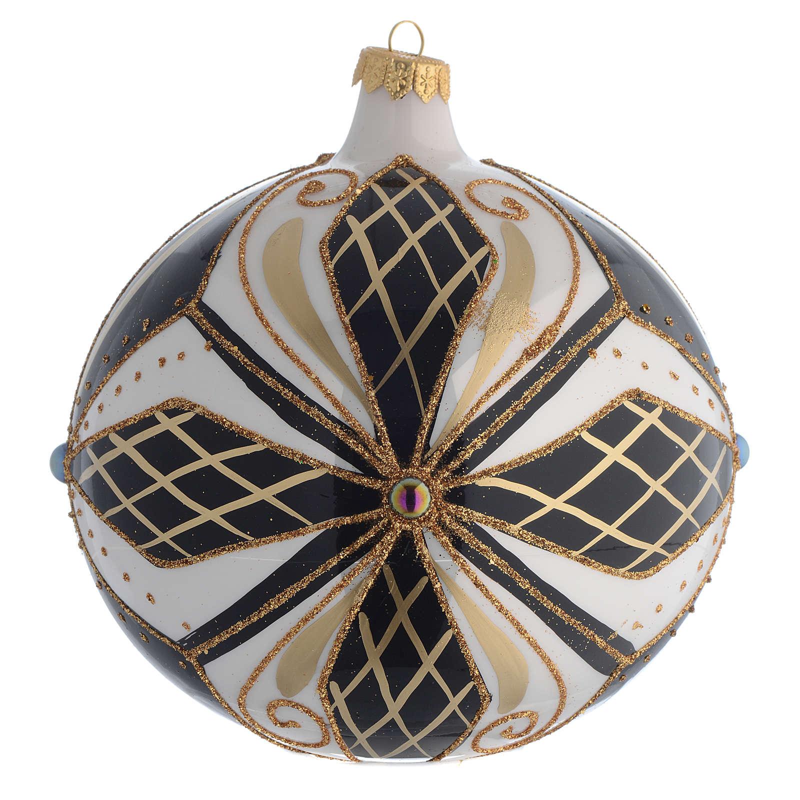 Christmas Bauble black white & gold 15cm 4