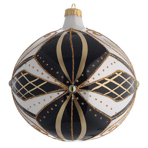 Christmas Bauble black white & gold 15cm 1