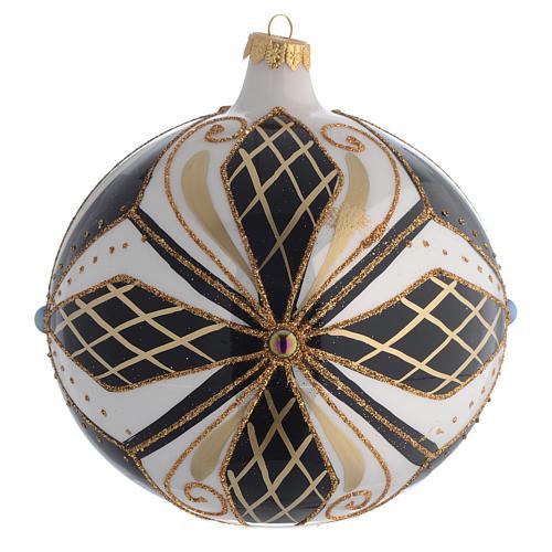 Christmas Bauble black white & gold 15cm 2