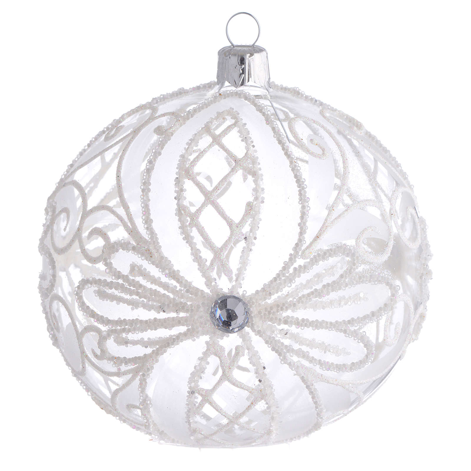 Christmas Bauble white transparent 10cm 4
