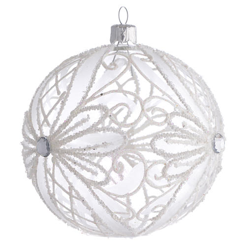 Christmas Bauble white transparent 10cm 2