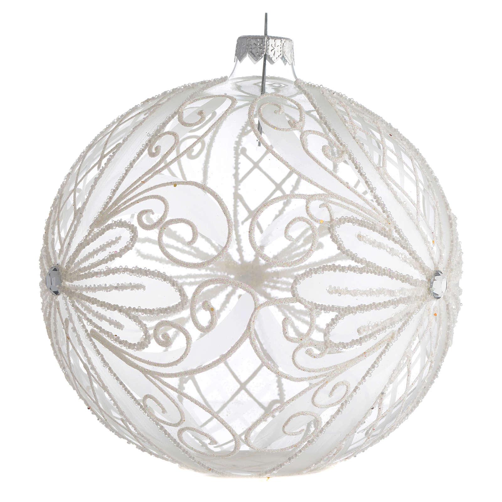 Palla Albero Natale vetro trasparente bianco 150mm 4