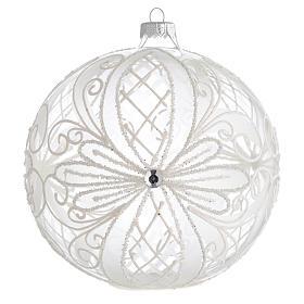 Palla Albero Natale vetro trasparente bianco 150mm s1