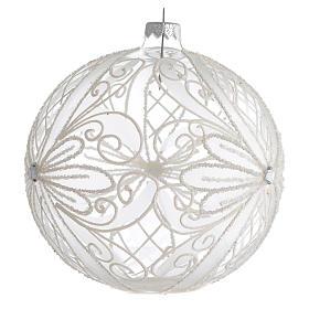 Palla Albero Natale vetro trasparente bianco 150mm s2