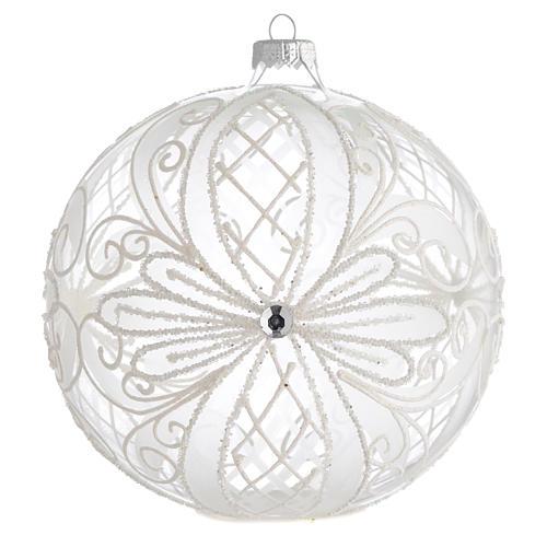 Palla Albero Natale vetro trasparente bianco 150mm 1
