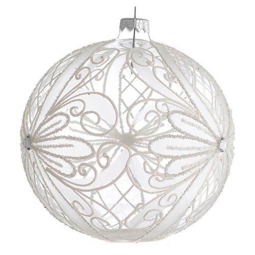 Palla Albero Natale vetro trasparente bianco 150mm 2