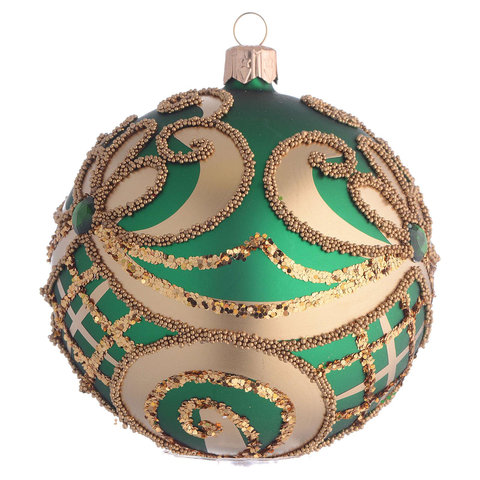Bola de Navidad vidrio soplado verde y oro 100 mm 4